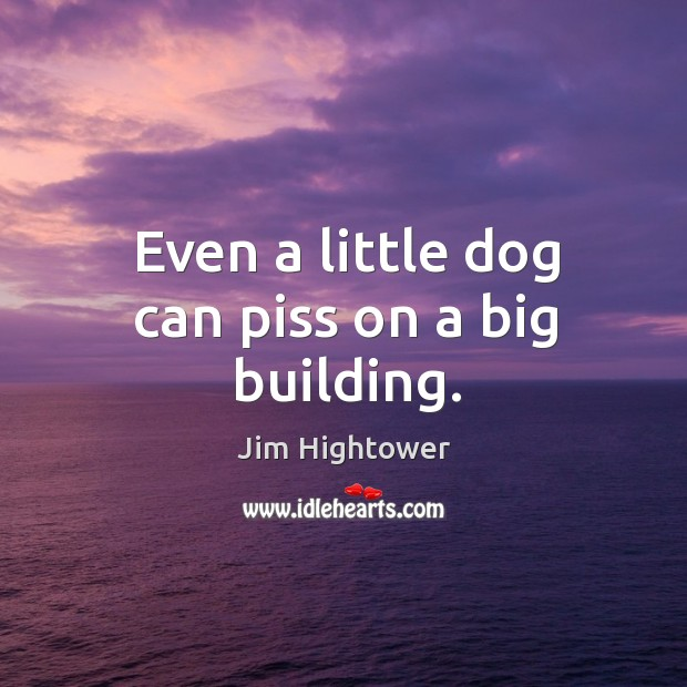 Even a little dog can piss on a big building. Jim Hightower Picture Quote