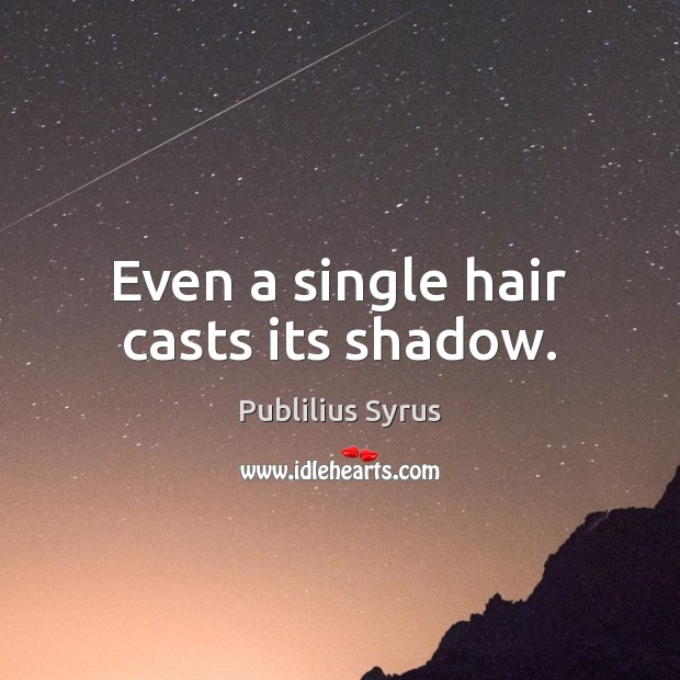 Even a single hair casts its shadow. Image