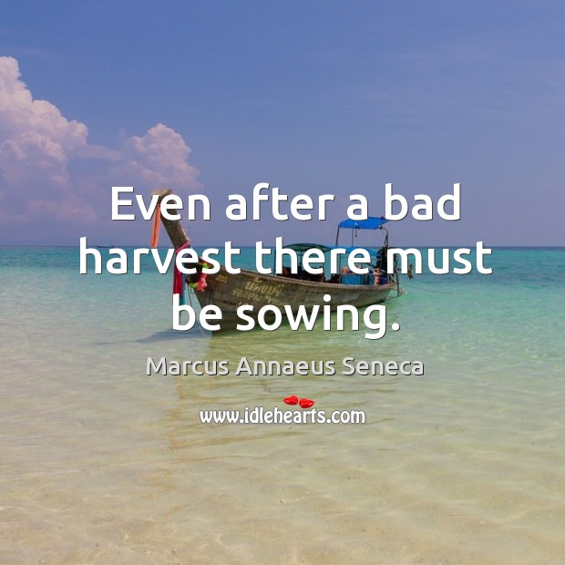 Even after a bad harvest there must be sowing. Marcus Annaeus Seneca Picture Quote
