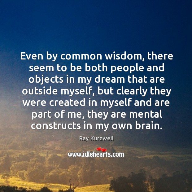 Even by common wisdom, there seem to be both people and objects in my dream that are outside myself Image