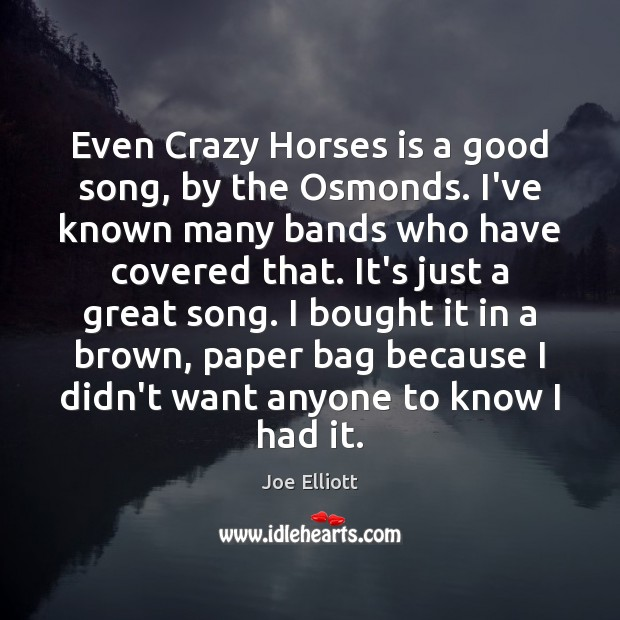 Even Crazy Horses is a good song, by the Osmonds. I've known Joe Elliott Picture Quote