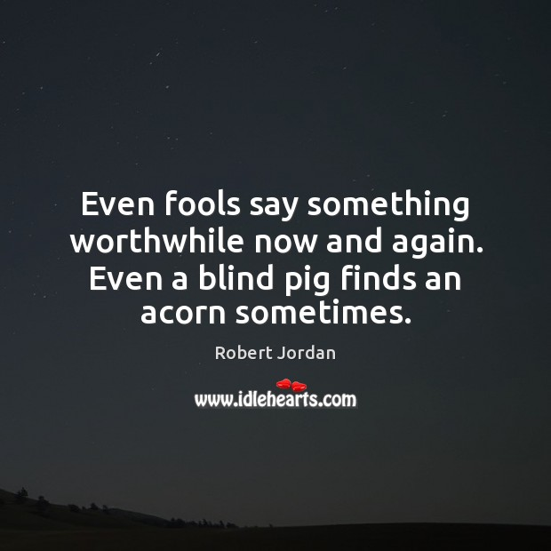 Even fools say something worthwhile now and again. Even a blind pig Robert Jordan Picture Quote