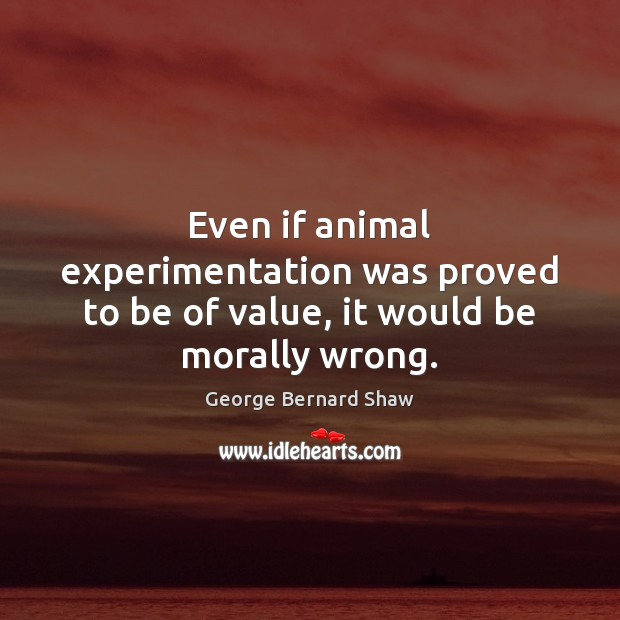 Image, Even if animal experimentation was proved to be of value, it would be morally wrong.