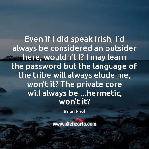 Even if I did speak Irish, I'd always be considered an Image
