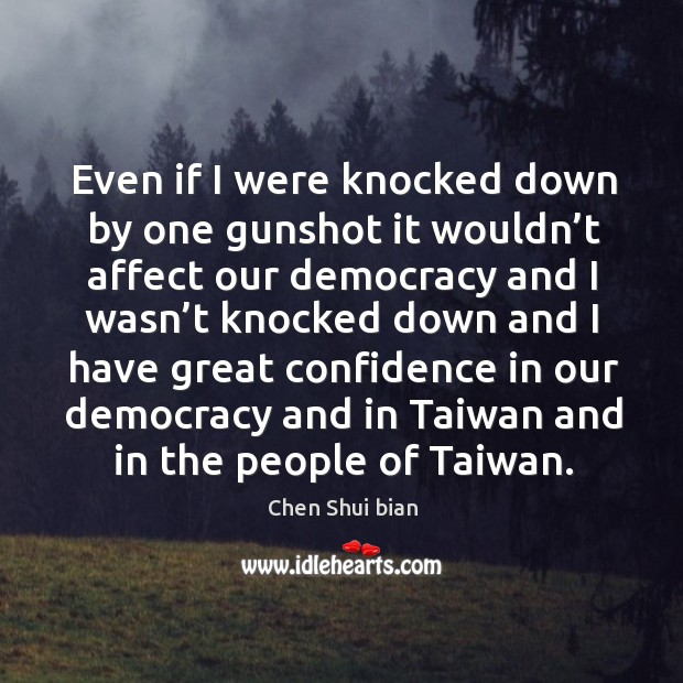 Even if I were knocked down by one gunshot it wouldn't affect our democracy and I wasn't knocked Image