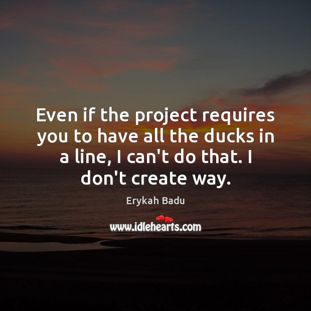 Even if the project requires you to have all the ducks in Erykah Badu Picture Quote