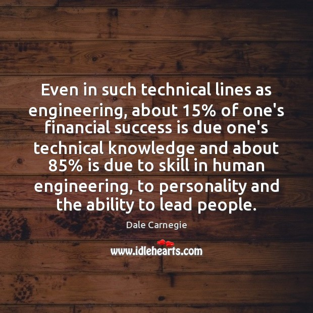 Even in such technical lines as engineering, about 15% of one's financial success Image