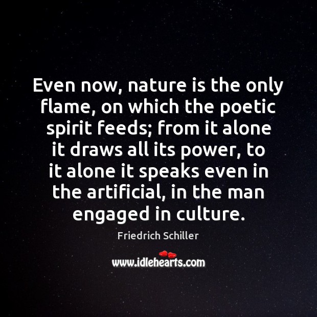 Even now, nature is the only flame, on which the poetic spirit Image