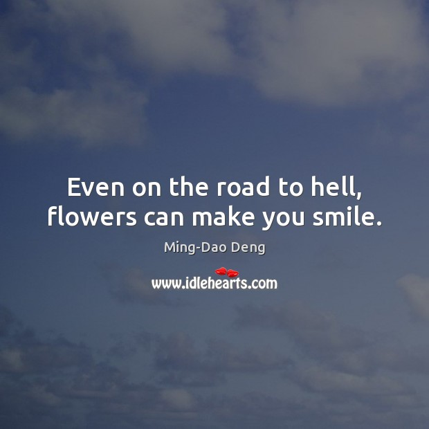 Even on the road to hell, flowers can make you smile. Image