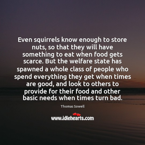 Even squirrels know enough to store nuts, so that they will have Thomas Sowell Picture Quote