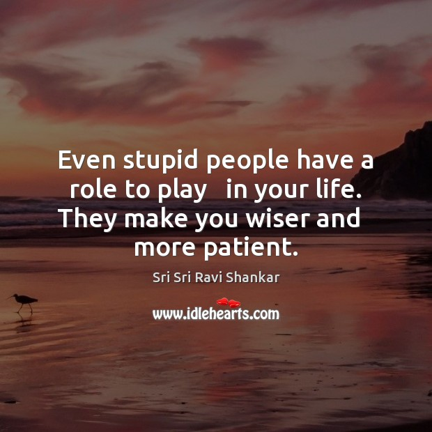 Even stupid people have a role to play   in your life. They Image