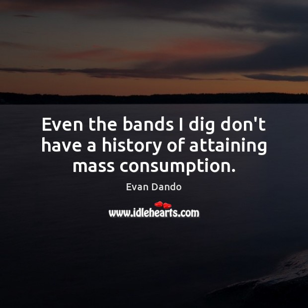 Even the bands I dig don't have a history of attaining mass consumption. Image