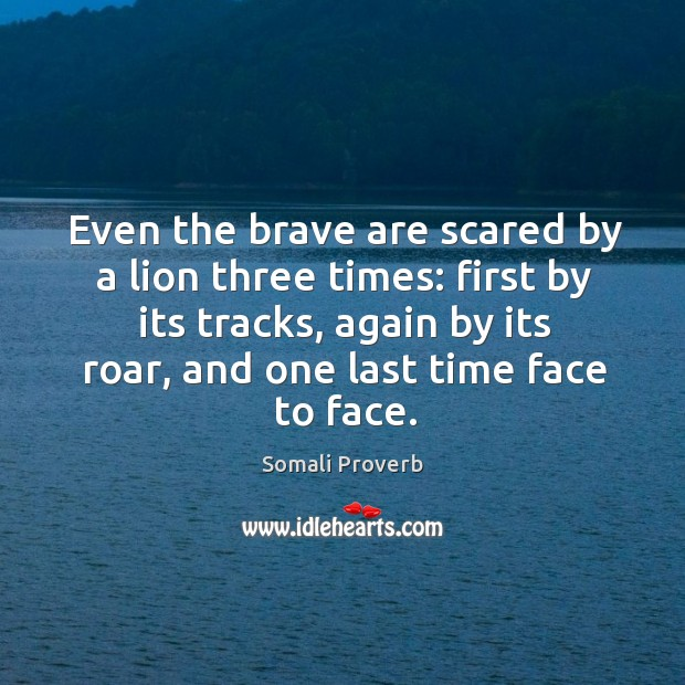Even the brave are scared by a lion three times: Somali Proverbs Image