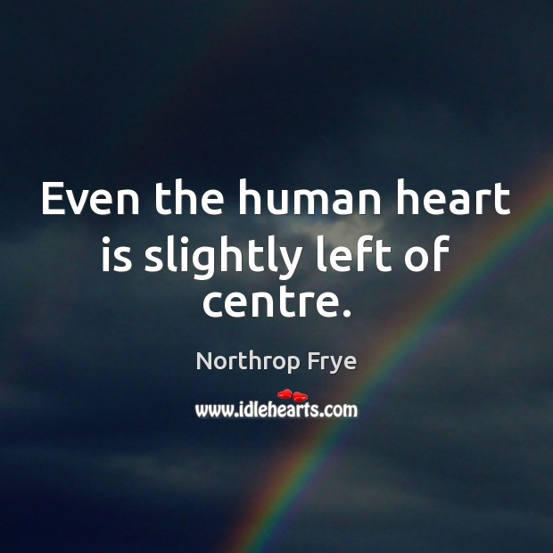 Even the human heart is slightly left of centre. Image