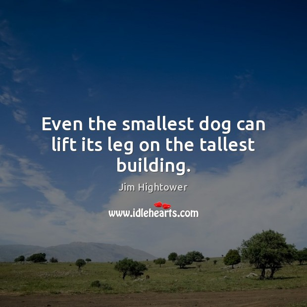 Even the smallest dog can lift its leg on the tallest building. Jim Hightower Picture Quote