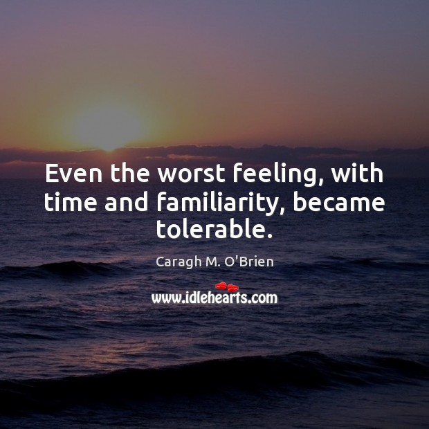 Image, Even the worst feeling, with time and familiarity, became tolerable.