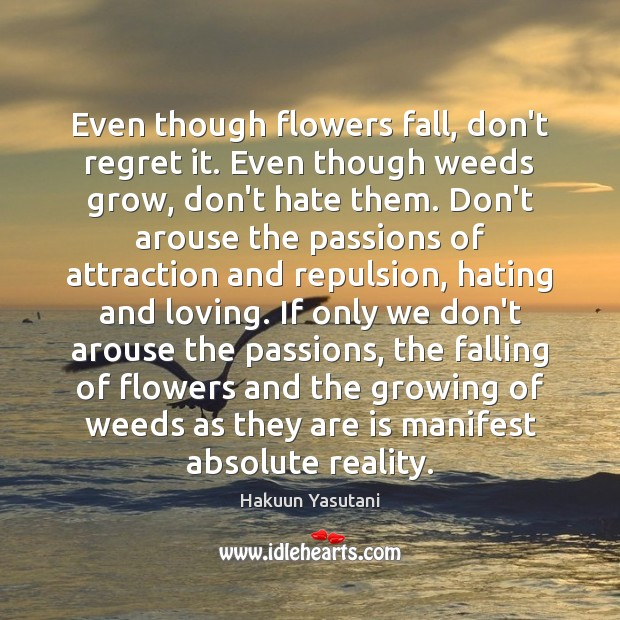 Image, Even though flowers fall, don't regret it. Even though weeds grow, don't