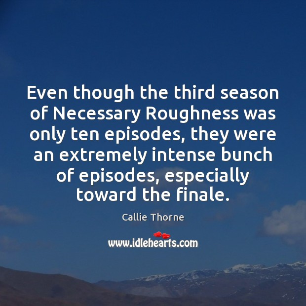 Image, Even though the third season of Necessary Roughness was only ten episodes,