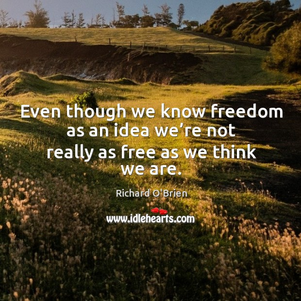 Even though we know freedom as an idea we're not really as free as we think we are. Richard O'Brien Picture Quote