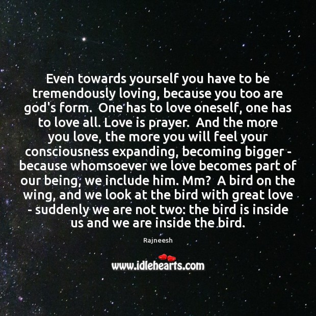 Even towards yourself you have to be tremendously loving, because you too Image