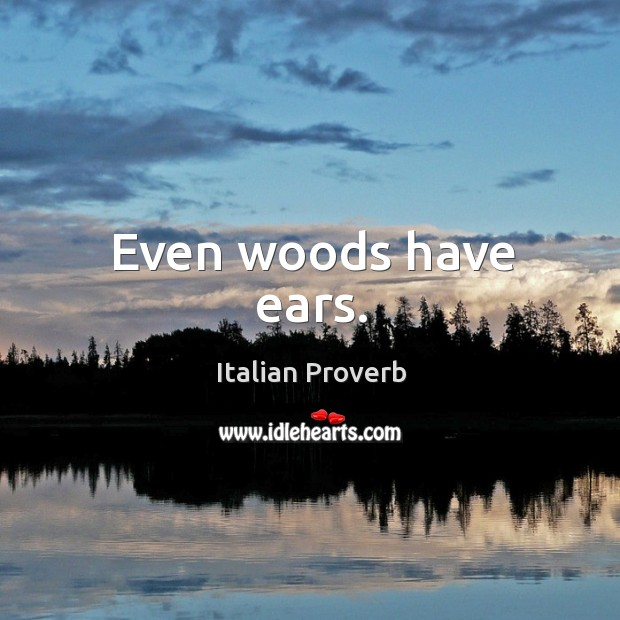 Even woods have ears. Image