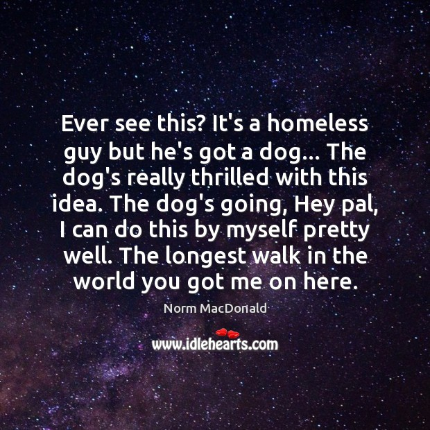 Ever see this? It's a homeless guy but he's got a dog… Norm MacDonald Picture Quote