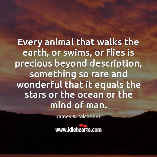 Image, Every animal that walks the earth, or swims, or flies is precious