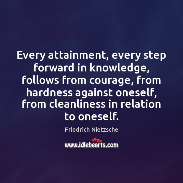 Image, Every attainment, every step forward in knowledge, follows from courage, from hardness