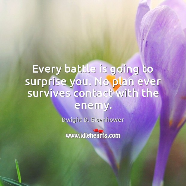 Every battle is going to surprise you. No plan ever survives contact with the enemy. Dwight D. Eisenhower Picture Quote