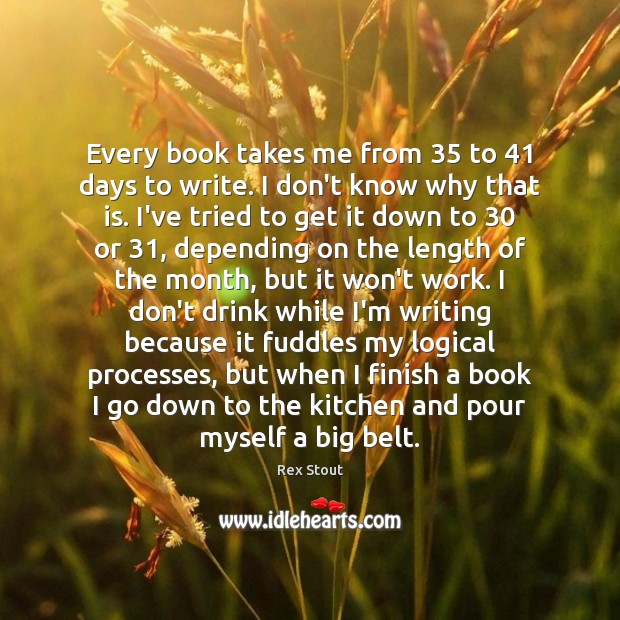 Every book takes me from 35 to 41 days to write. I don't know Image