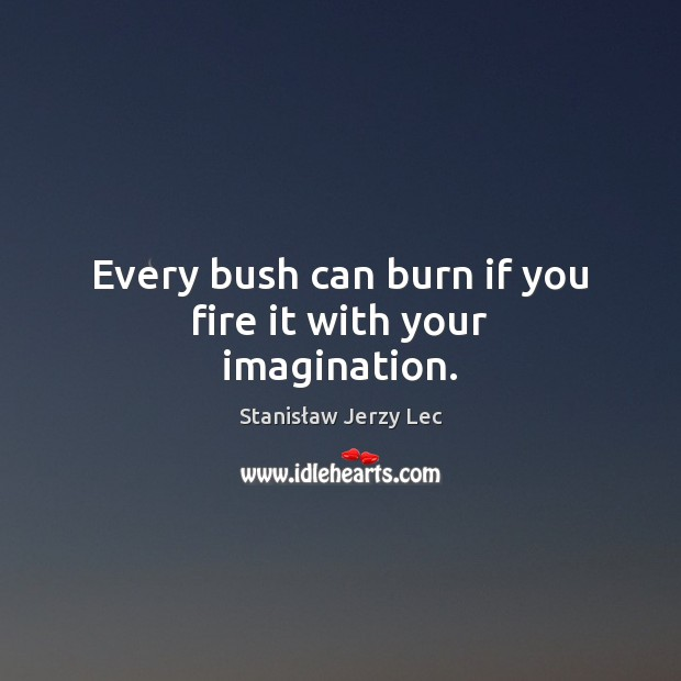 Every bush can burn if you fire it with your imagination. Stanisław Jerzy Lec Picture Quote