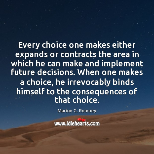 Every choice one makes either expands or contracts the area in which Image
