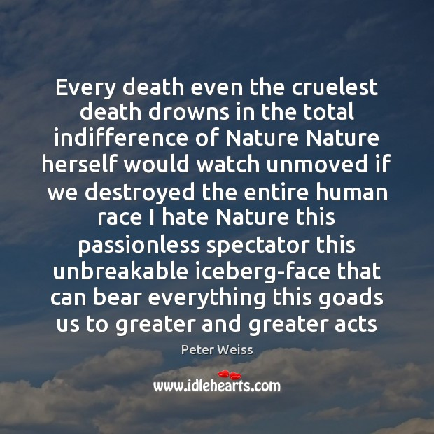 Every death even the cruelest death drowns in the total indifference of Image