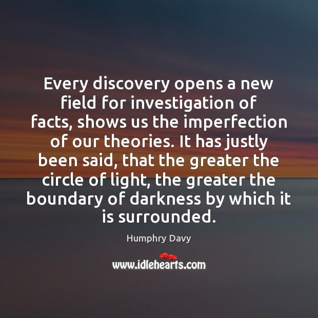 Every discovery opens a new field for investigation of facts, shows us Imperfection Quotes Image