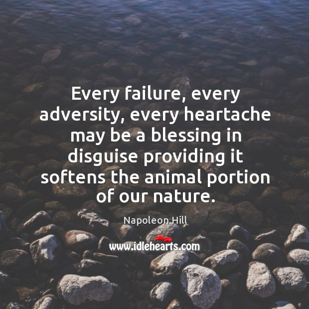 Every failure, every adversity, every heartache may be a blessing in disguise Image