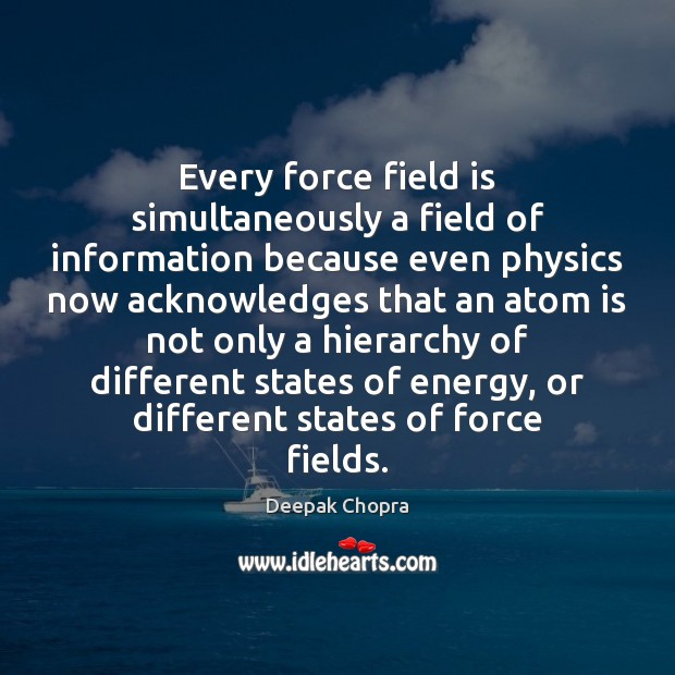 Every force field is simultaneously a field of information because even physics Image