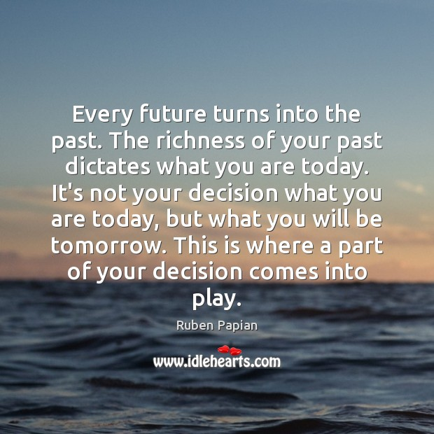 Image, Every future turns into the past. The richness of your past dictates