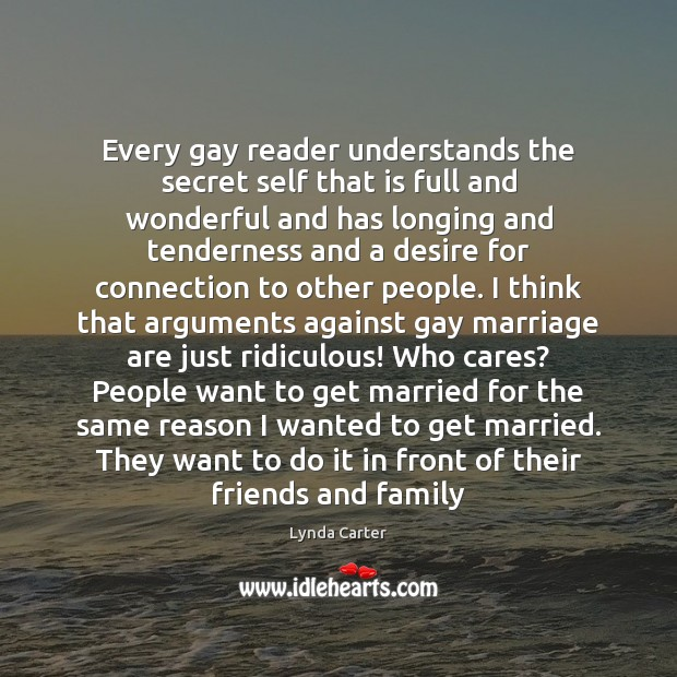 Every gay reader understands the secret self that is full and wonderful Image
