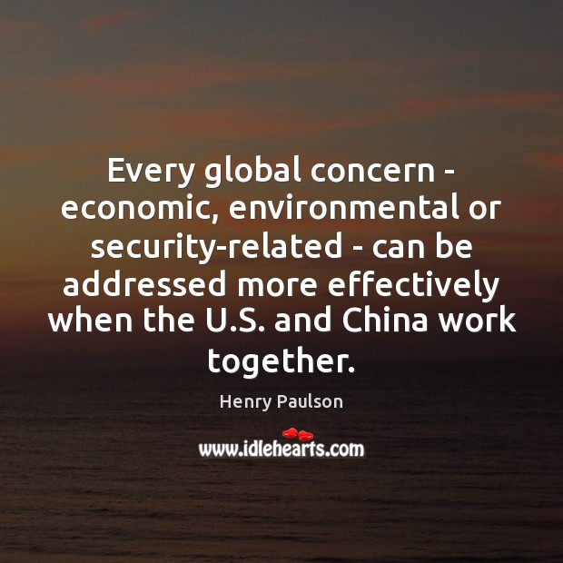 Every global concern – economic, environmental or security-related – can be addressed Image