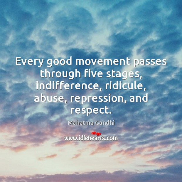 Image, Every good movement passes through five stages, indifference, ridicule, abuse, repression, and
