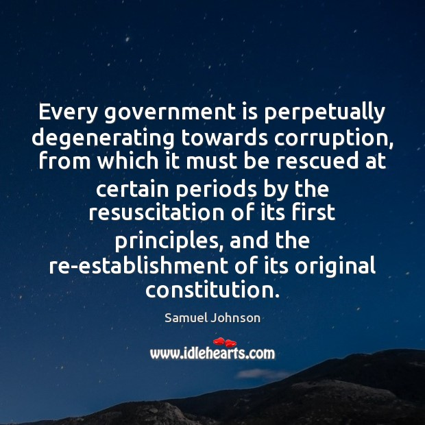 Image, Every government is perpetually degenerating towards corruption, from which it must be