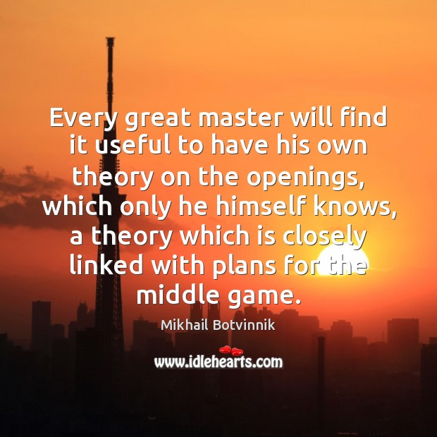 Image, Every great master will find it useful to have his own theory