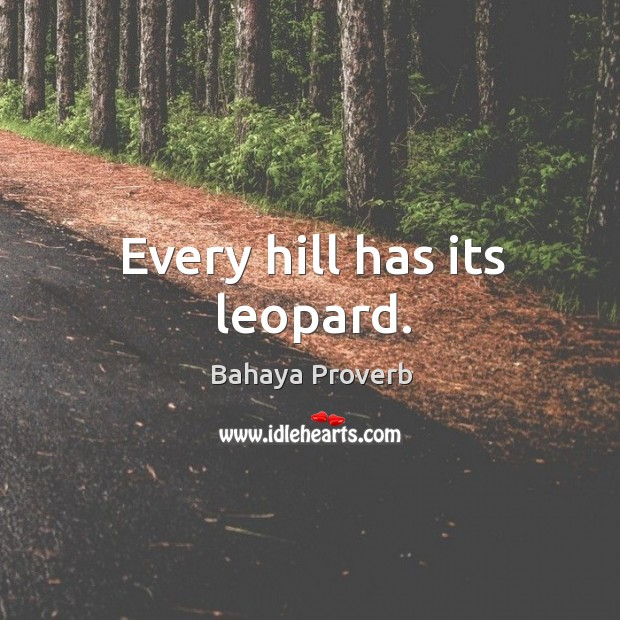 Every hill has its leopard. Bahaya Proverbs Image