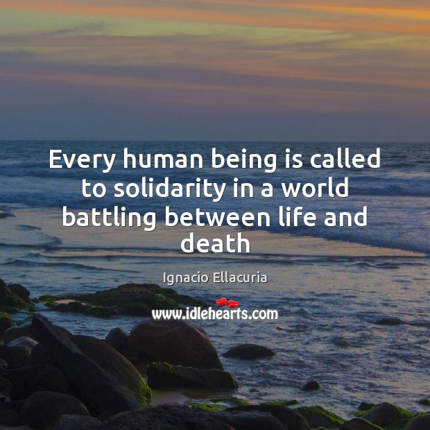 Every human being is called to solidarity in a world battling between life and death Image