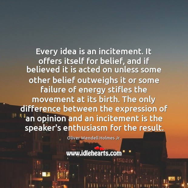Every idea is an incitement. It offers itself for belief, and if Image