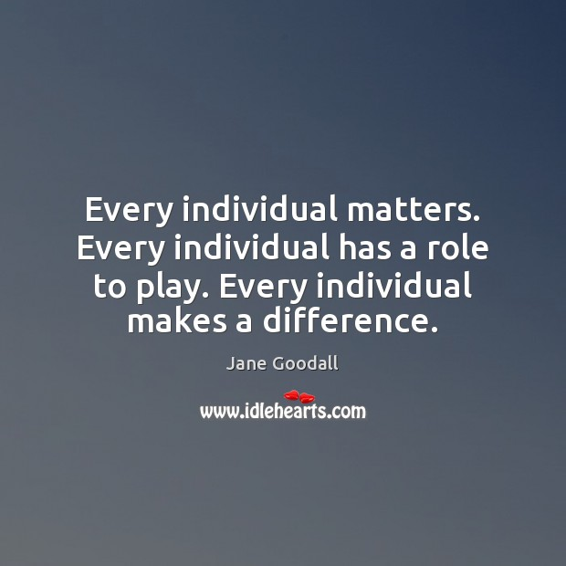 Image, Every individual matters. Every individual has a role to play. Every individual
