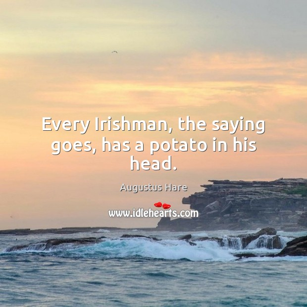Image, Every Irishman, the saying goes, has a potato in his head.