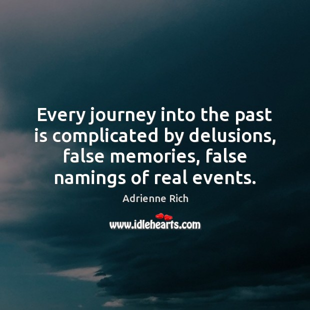 Every journey into the past is complicated by delusions, false memories, false Image