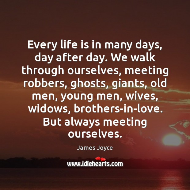 Every life is in many days, day after day. We walk through James Joyce Picture Quote