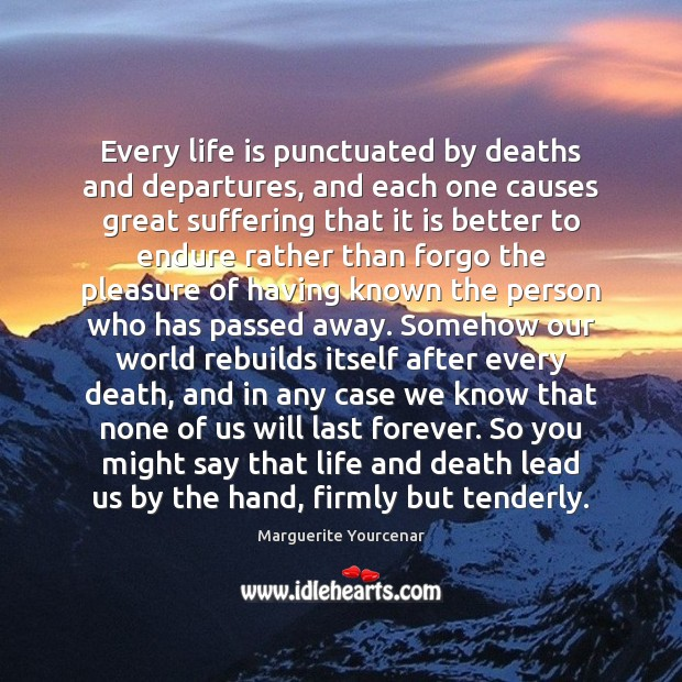 Every life is punctuated by deaths and departures, and each one causes Marguerite Yourcenar Picture Quote